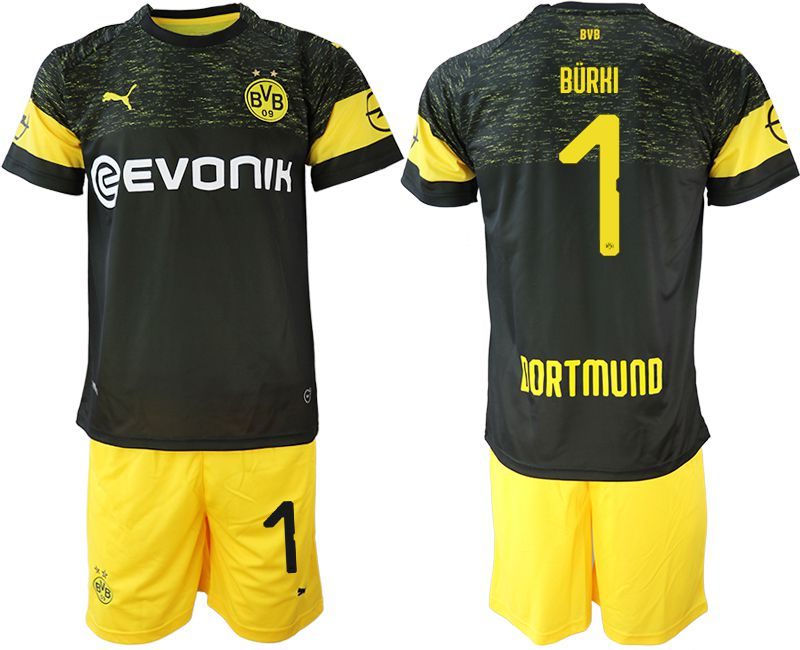 Men 2018-2019 club Borussia Dortmund away 1 black soccer jersey