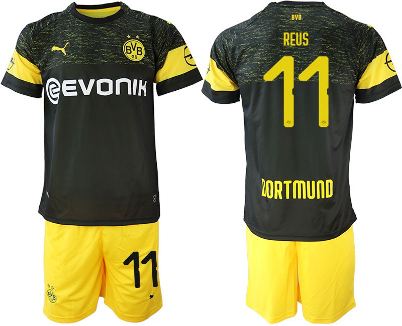 Men 2018-2019 club Borussia Dortmund away 11 black soccer jersey