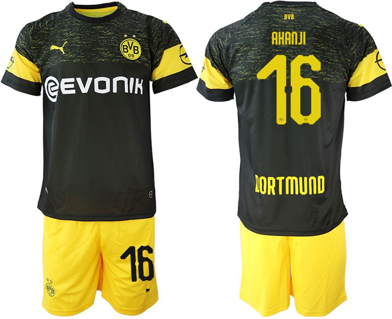 Men 2018-2019 club Borussia Dortmund away 16 black soccer jersey