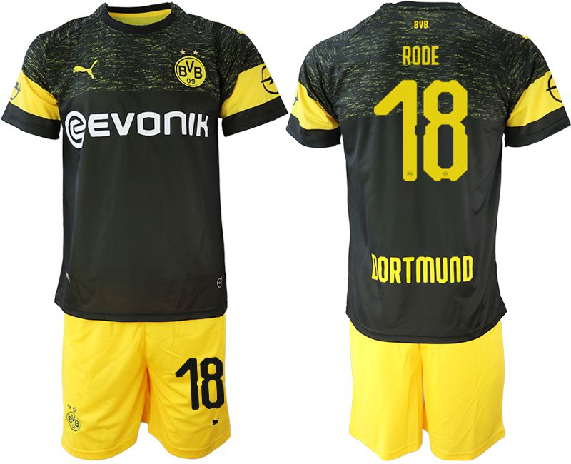 Men 2018-2019 club Borussia Dortmund away 18 black soccer jersey