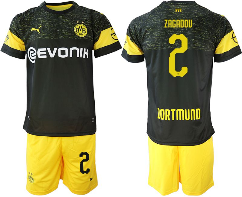 Men 2018-2019 club Borussia Dortmund away 2 black soccer jersey
