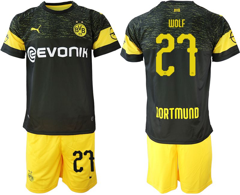 Men 2018-2019 club Borussia Dortmund away 27 black soccer jersey