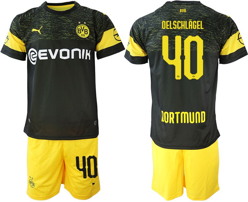 Men 2018-2019 club Borussia Dortmund away 40 black soccer jersey