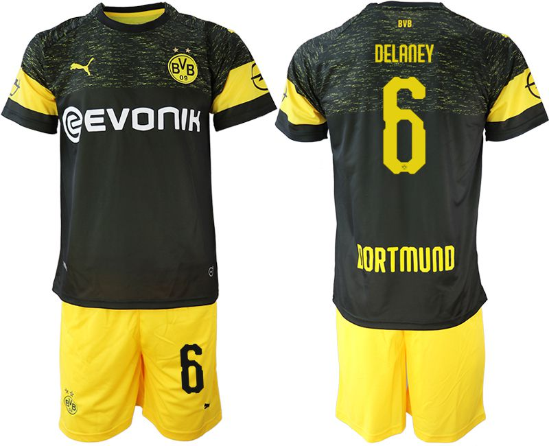 Men 2018-2019 club Borussia Dortmund away 6 black soccer jersey
