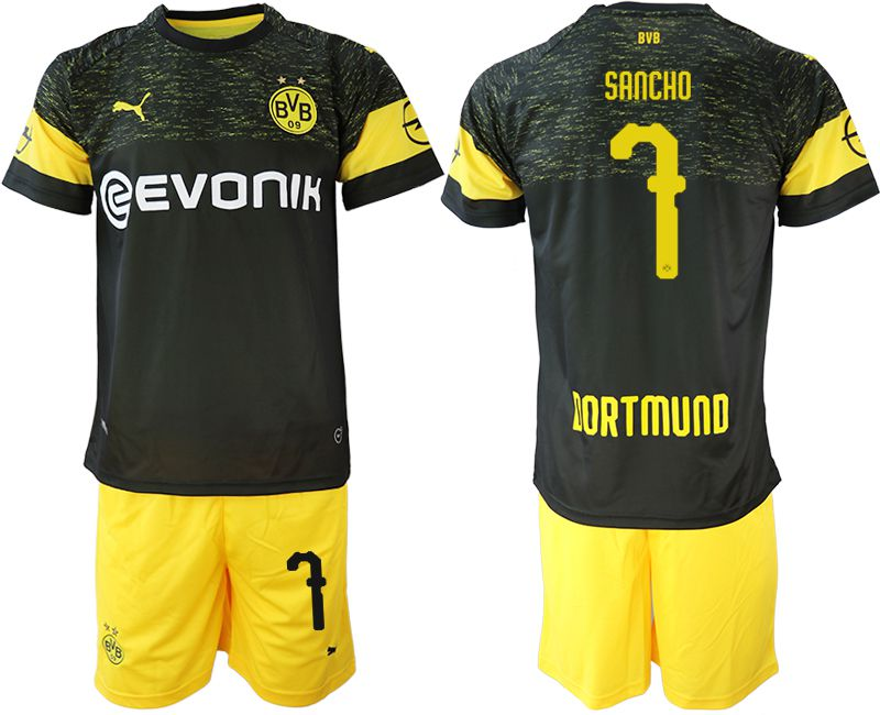Men 2018-2019 club Borussia Dortmund away 7 black soccer jersey