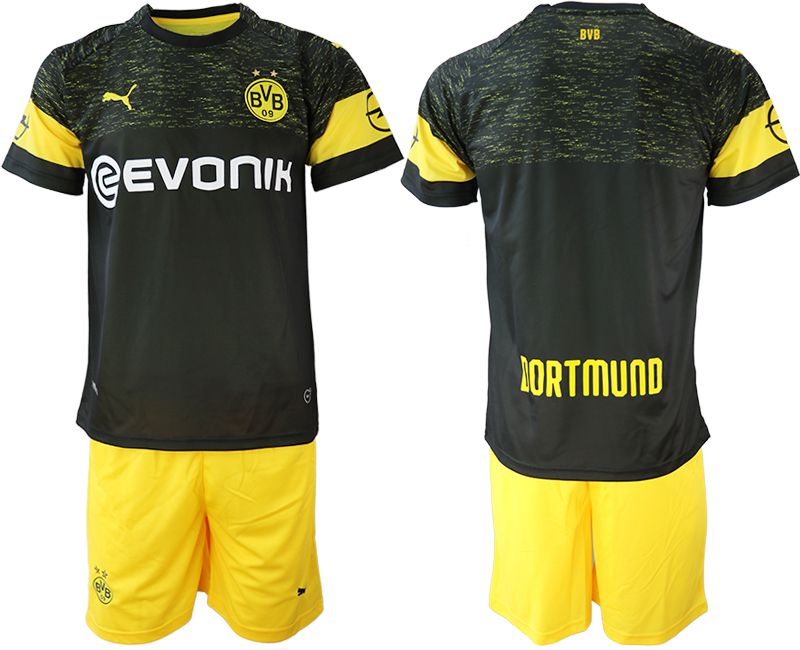 Men 2018-2019 club Borussia Dortmund away blank black soccer jersey