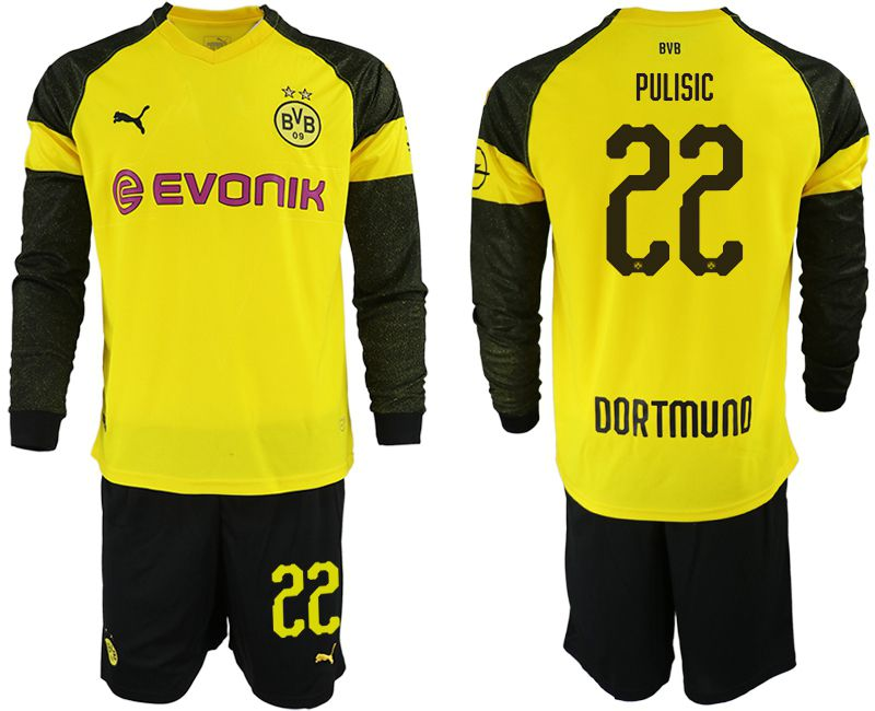 Men 2018-2019 club Borussia Dortmund home Long sleeve 22 yellow Soccer Jerseys