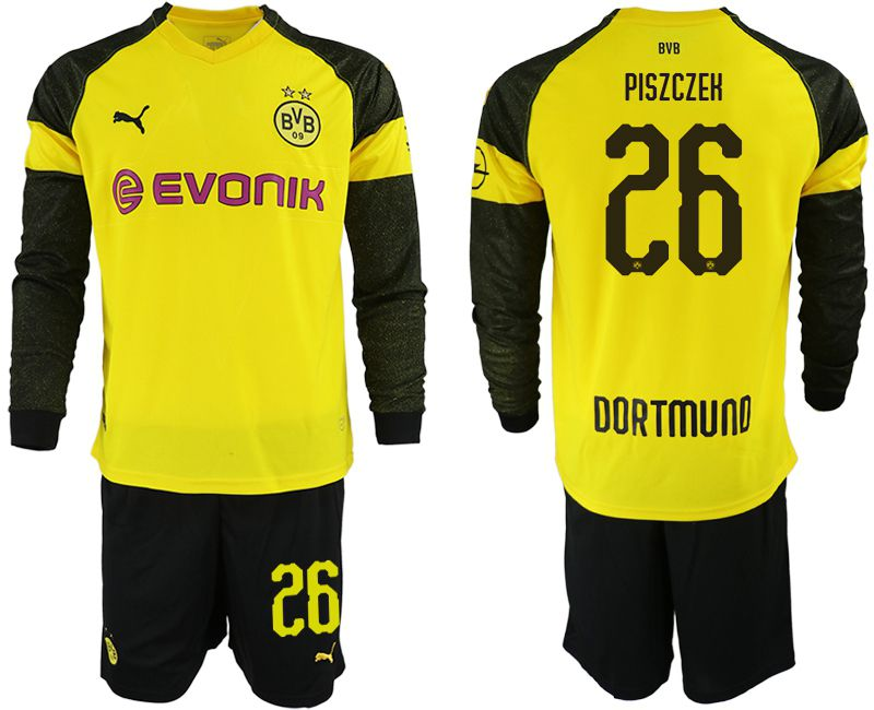 Men 2018-2019 club Borussia Dortmund home Long sleeve 26 yellow Soccer Jerseys