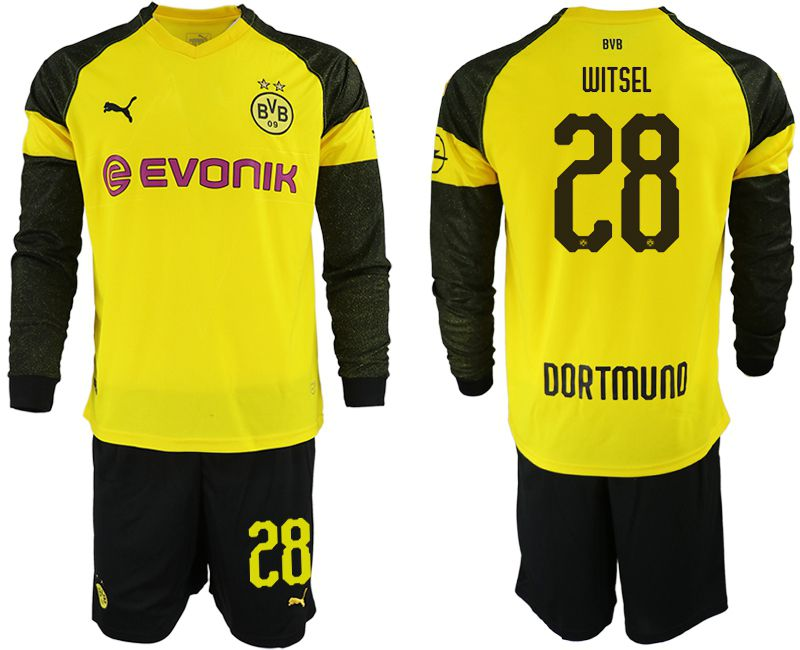 Men 2018-2019 club Borussia Dortmund home Long sleeve 28 yellow Soccer Jerseys