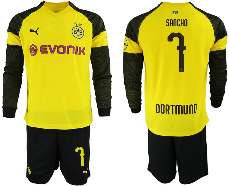 Men 2018-2019 club Borussia Dortmund home Long sleeve 7 yellow Soccer Jerseys