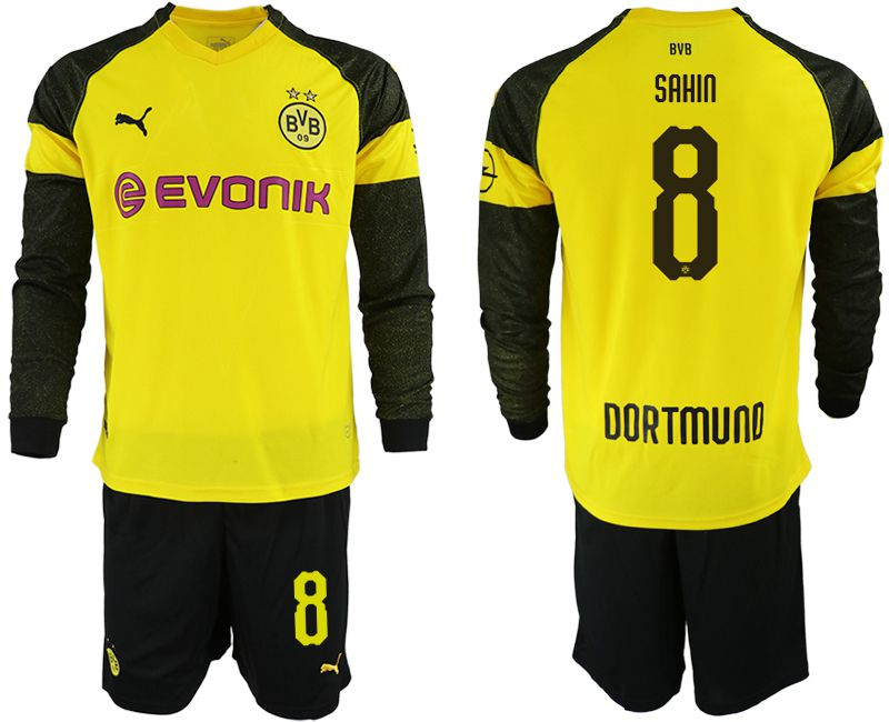 Men 2018-2019 club Borussia Dortmund home Long sleeve 8 yellow Soccer Jerseys