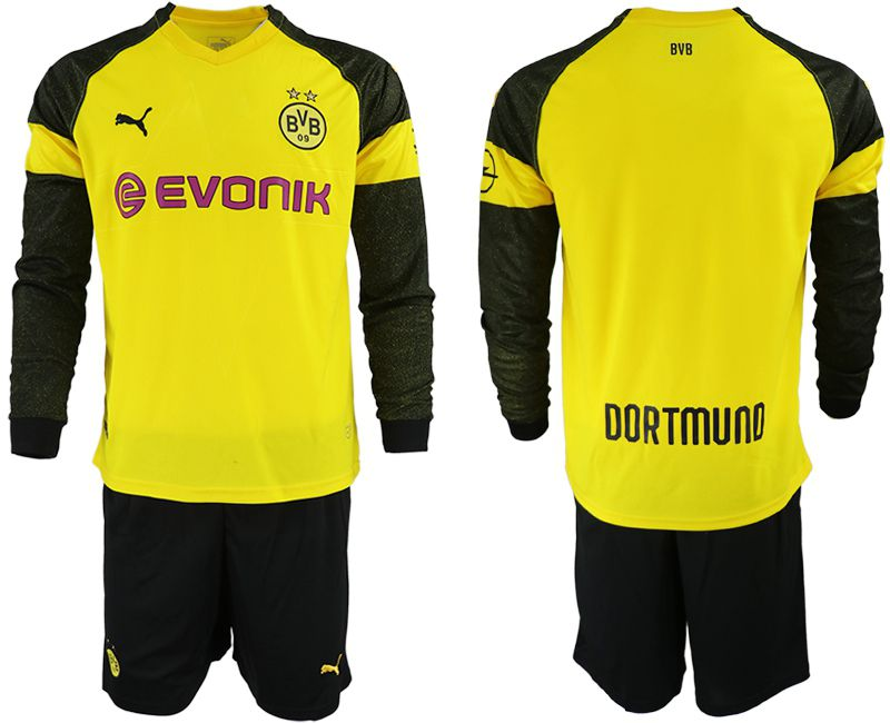 Men 2018-2019 club Borussia Dortmund home Long sleeve blank yellow Soccer Jerseys
