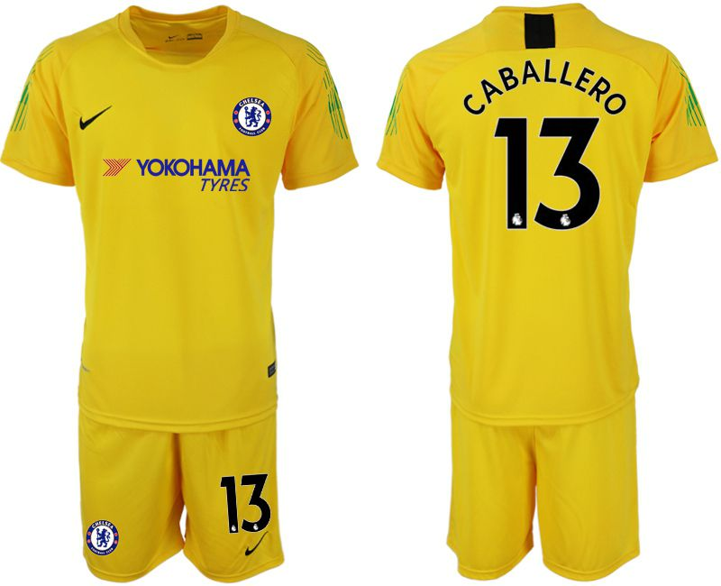 Men 2018-2019 club Chelsea Goalkeeper 13 yellow Soccer Jerseys