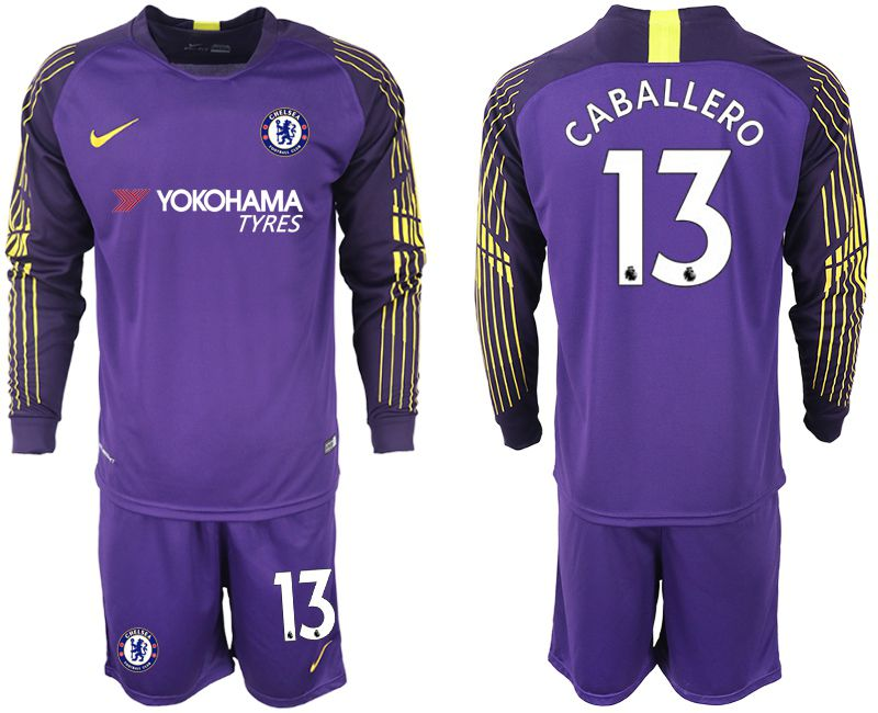 Men 2018-2019 club Chelsea Goalkeeper Long sleeve 13 purple soccer jerseys