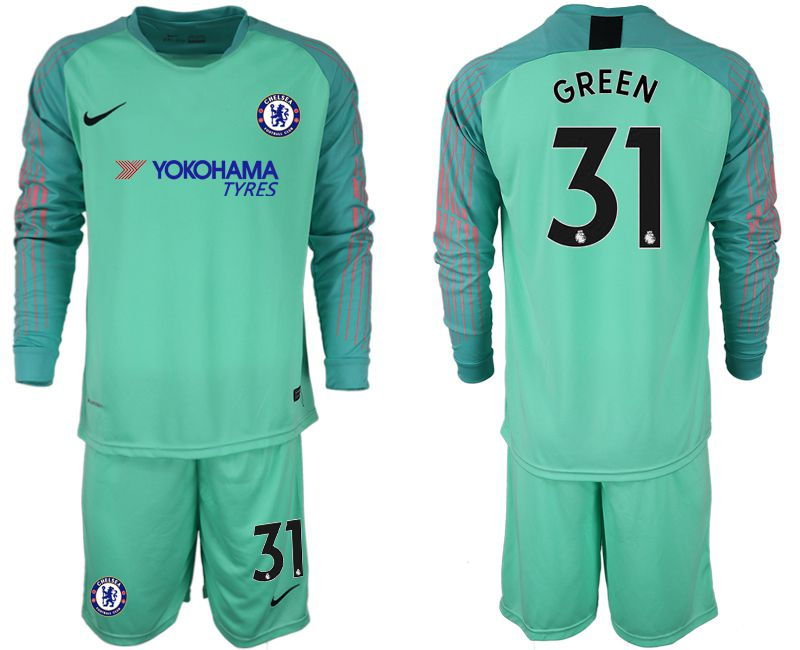 Men 2018-2019 club Chelsea Goalkeeper Long sleeve 31 green soccer jerseys
