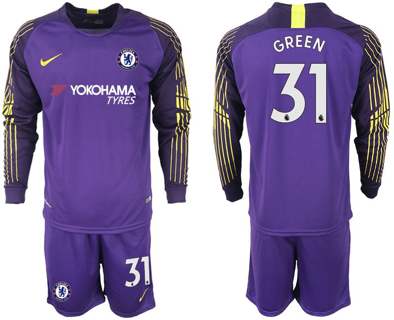 Men 2018-2019 club Chelsea Goalkeeper Long sleeve 31 purple soccer jerseys
