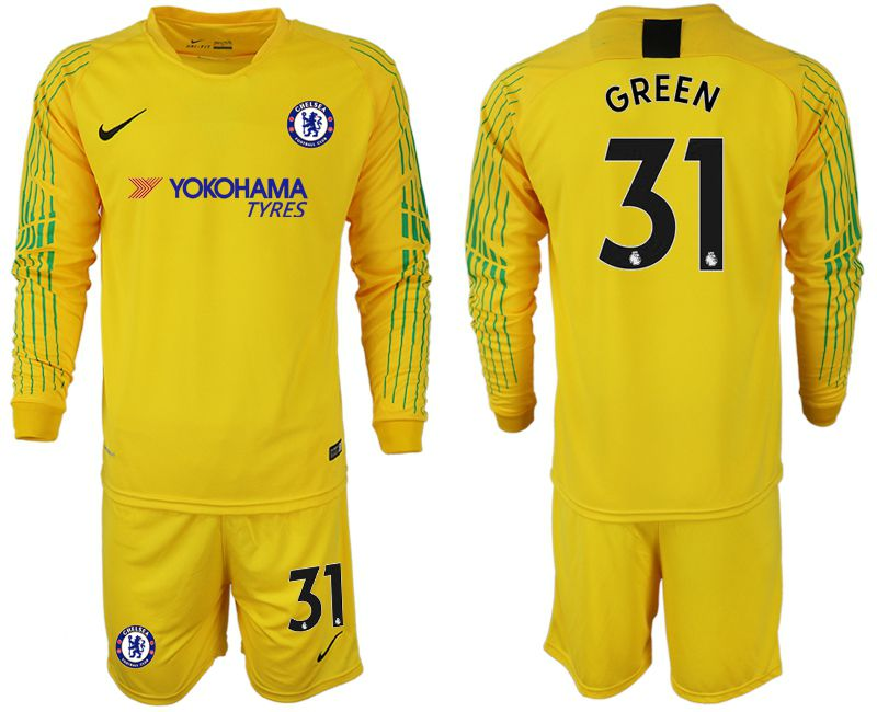 Men 2018-2019 club Chelsea Goalkeeper Long sleeve 31 yellow soccer jerseys