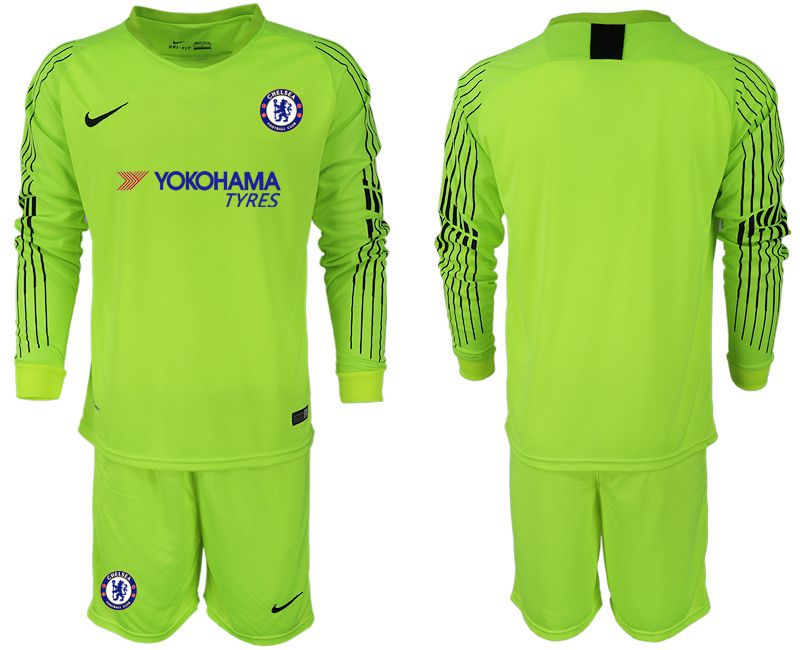 Men 2018-2019 club Chelsea Goalkeeper Long sleeve blank Fluorescent green soccer jerseys