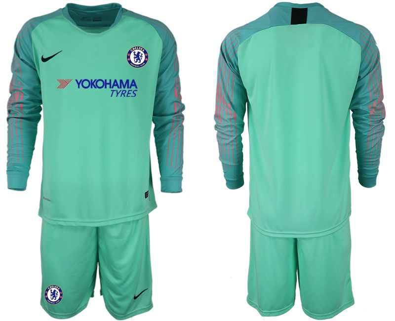 Men 2018-2019 club Chelsea Goalkeeper Long sleeve blank green soccer jerseys