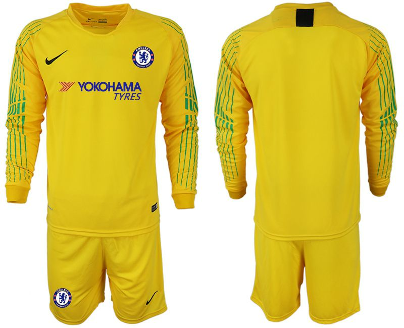 Men 2018-2019 club Chelsea Goalkeeper Long sleeve blank yellow soccer jerseys