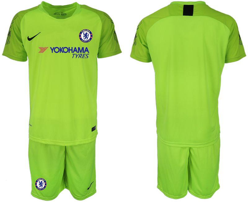 Men 2018-2019 club Chelsea Goalkeeper blank Light green Soccer Jerseys