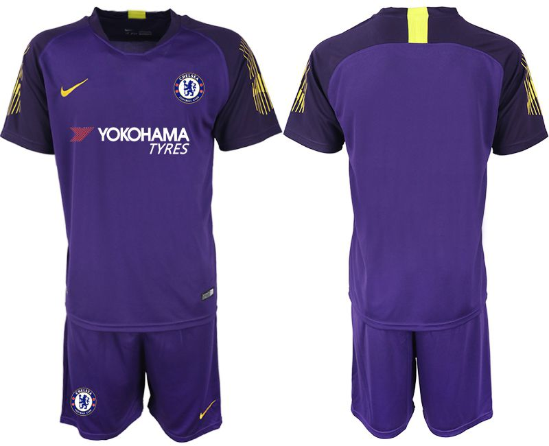 Men 2018-2019 club Chelsea Goalkeeper blank purple Soccer Jerseys