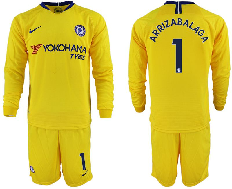 Men 2018-2019 club Chelsea away Long sleeve 1 yellow soccer jerseys