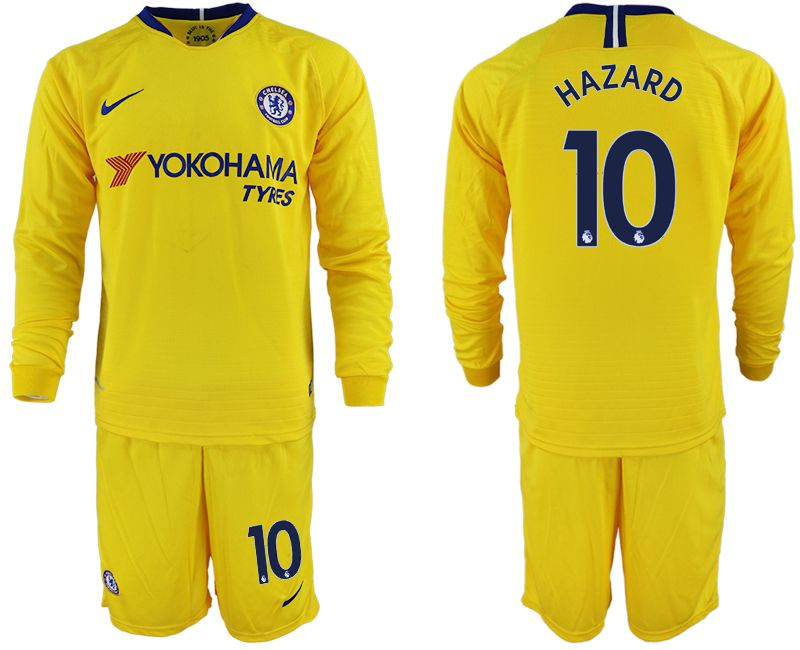 Men 2018-2019 club Chelsea away Long sleeve 10 yellow soccer jerseys
