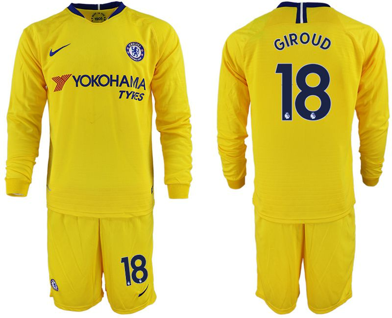 Men 2018-2019 club Chelsea away Long sleeve 18 yellow soccer jerseys