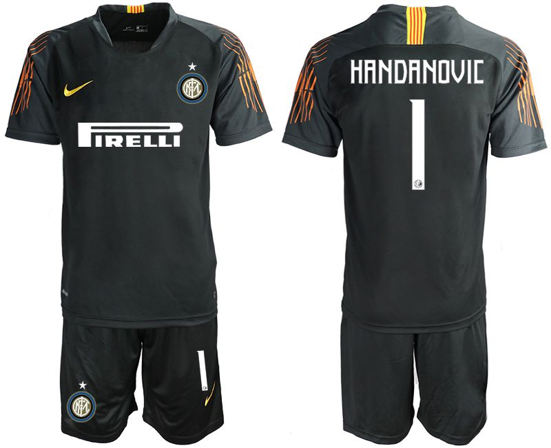Men 2018-2019 club Inter Milan black goalkeeper 1 soccer jersey