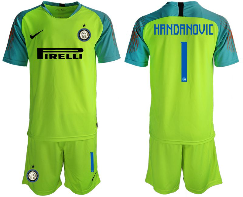 Men 2018-2019 club Inter Milan fluorescent green goalkeeper 1 soccer jersey
