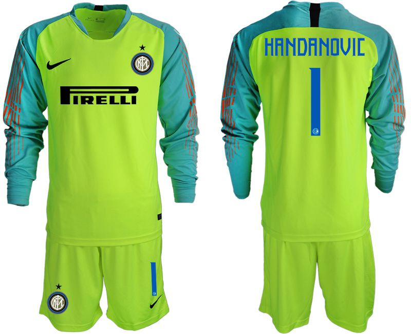 Men 2018-2019 club Inter Milan goalkeeper 1 Fluorescent green long sleeve soccer jersey1