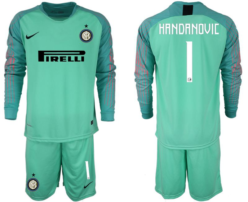 Men 2018-2019 club Inter Milan goalkeeper 1 green long sleeve soccer jersey