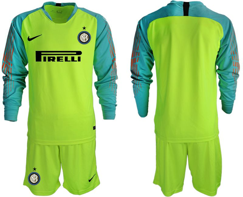 Men 2018-2019 club Inter Milan goalkeeper blank Fluorescent green long sleeve soccer jersey1
