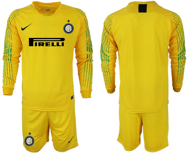 Men 2018-2019 club Inter Milan goalkeeper blank yellow long sleeve soccer jersey