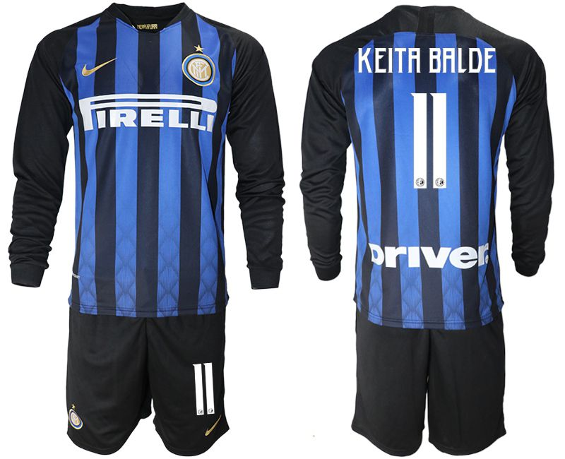 Men 2018-2019 club Inter milan home long sleeve 11 blue soccer jerseys