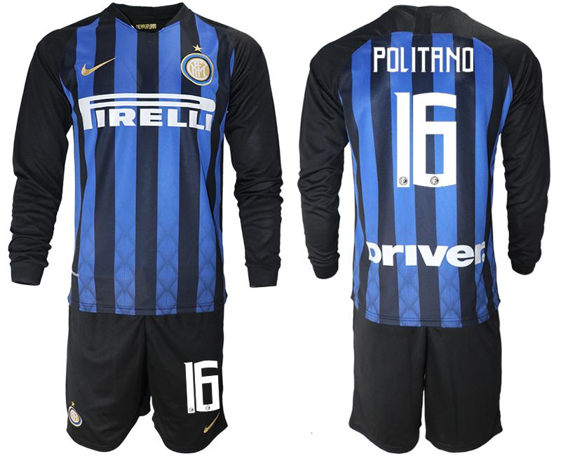 Men 2018-2019 club Inter milan home long sleeve 16 blue soccer jerseys