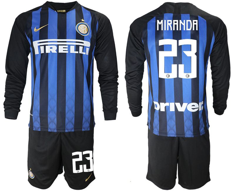 Men 2018-2019 club Inter milan home long sleeve 23 blue soccer jerseys