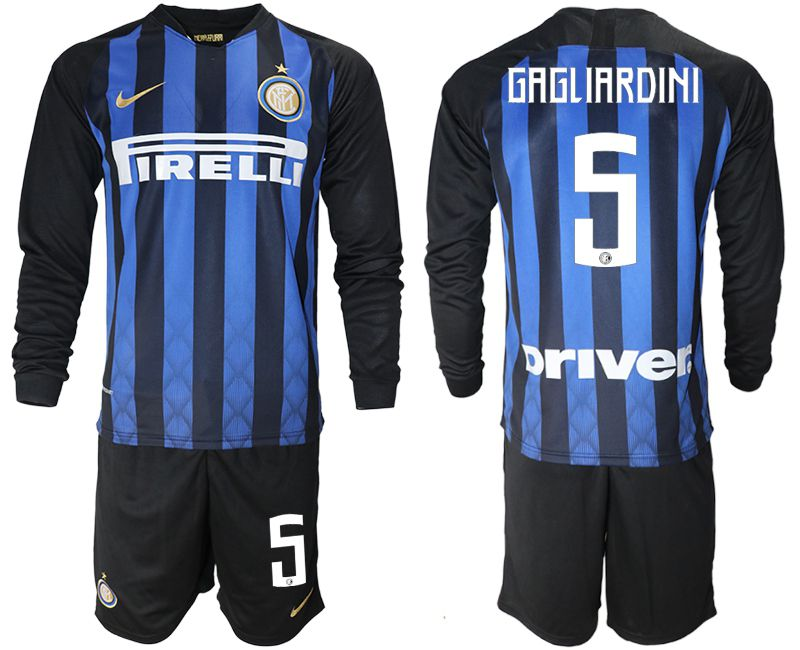 Men 2018-2019 club Inter milan home long sleeve 5 blue soccer jerseys