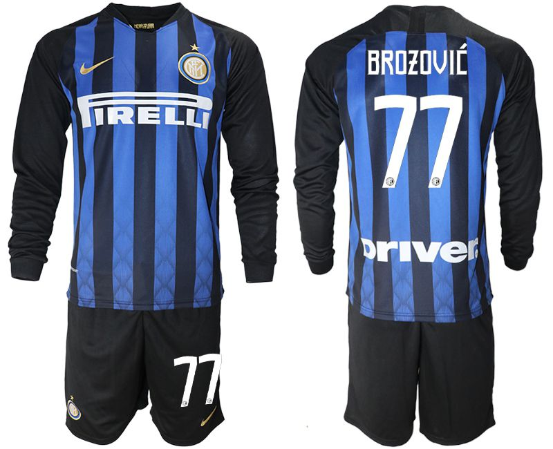 Men 2018-2019 club Inter milan home long sleeve 77 blue soccer jerseys