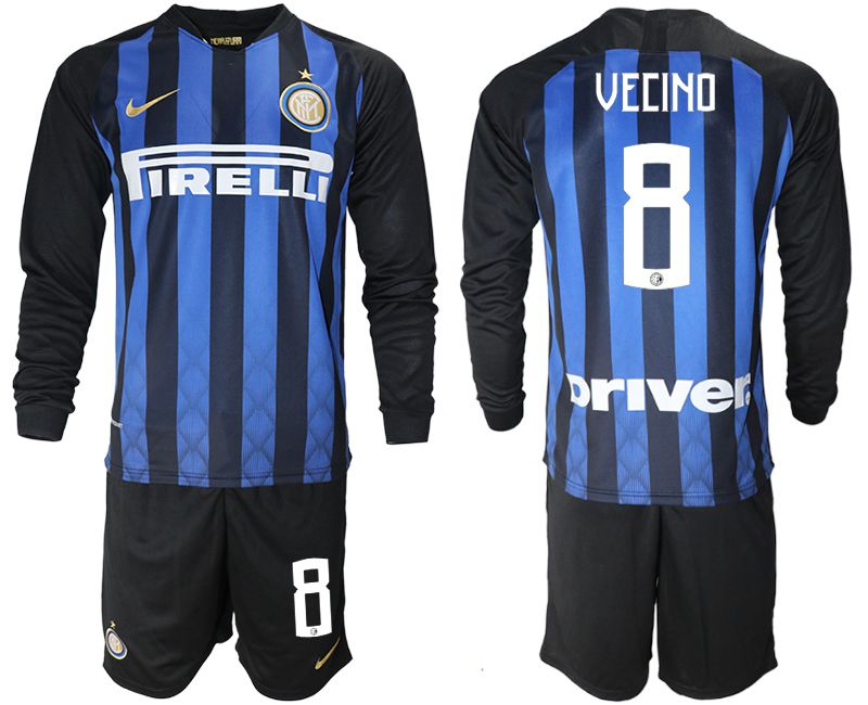 Men 2018-2019 club Inter milan home long sleeve 8 blue soccer jerseys