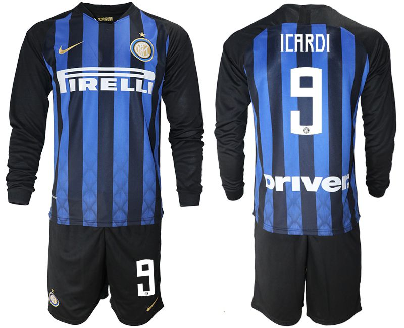 Men 2018-2019 club Inter milan home long sleeve 9 blue soccer jerseys
