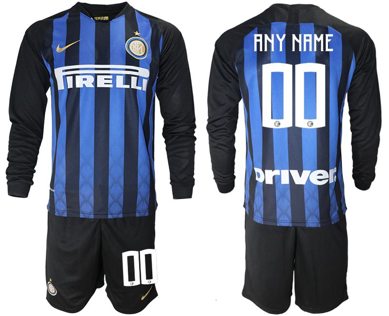 Men 2018-2019 club Inter milan home long sleeve customized blue soccer jerseys