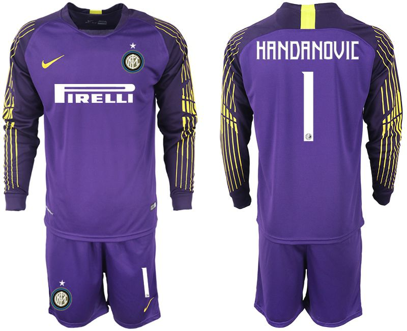 Men 2018-2019 club Inter milan long sleeve 1 purple soccer jerseys
