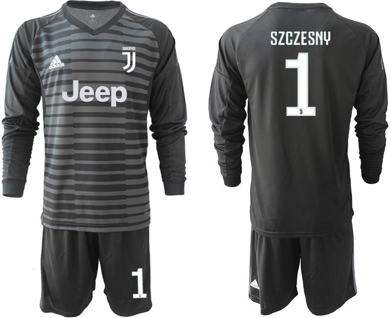 Men 2018-2019 club Juventus Goalkeeper Long sleeve 1 black soccer jerseys