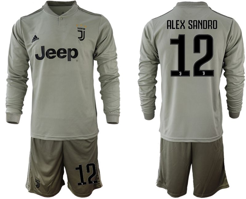 Men 2018-2019 club Juventus away Long sleeve 12 grey soccer jerseys