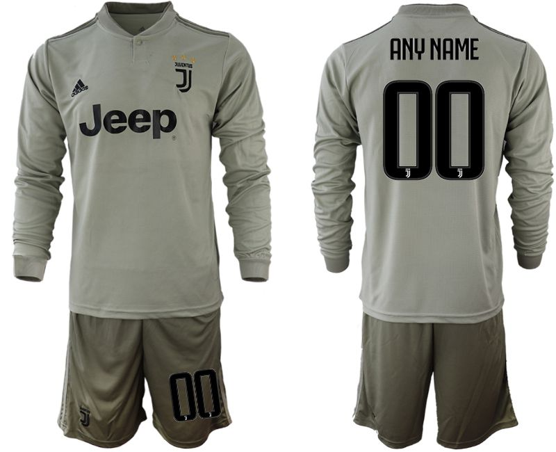 Men 2018-2019 club Juventus away Long sleeve customized grey soccer jerseys