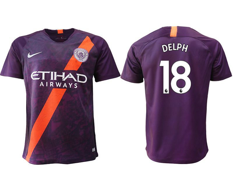 Men 2018-2019 club Manchester City Second away aaa version 18 purple soccer jersey