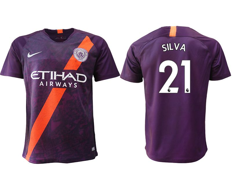 Men 2018-2019 club Manchester City Second away aaa version 21 purple soccer jersey