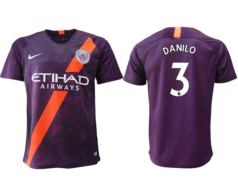 Men 2018-2019 club Manchester City Second away aaa version 3 purple soccer jersey